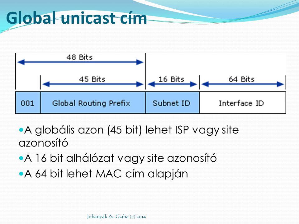Global unicast cím A globális azon (45 bit) lehet ISP vagy site azonosító. A 16 bit alhálózat vagy site azonosító.