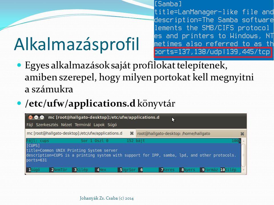 Alkalmazásprofil Egyes alkalmazások saját profilokat telepítenek, amiben szerepel, hogy milyen portokat kell megnyitni a számukra.