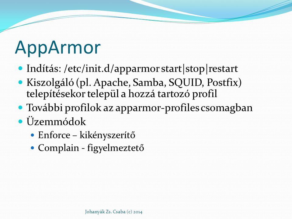 AppArmor Indítás: /etc/init.d/apparmor start|stop|restart