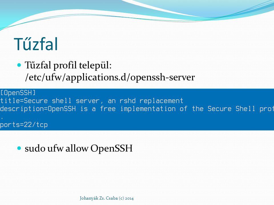 Tűzfal Tűzfal profil települ: /etc/ufw/applications.d/openssh-server