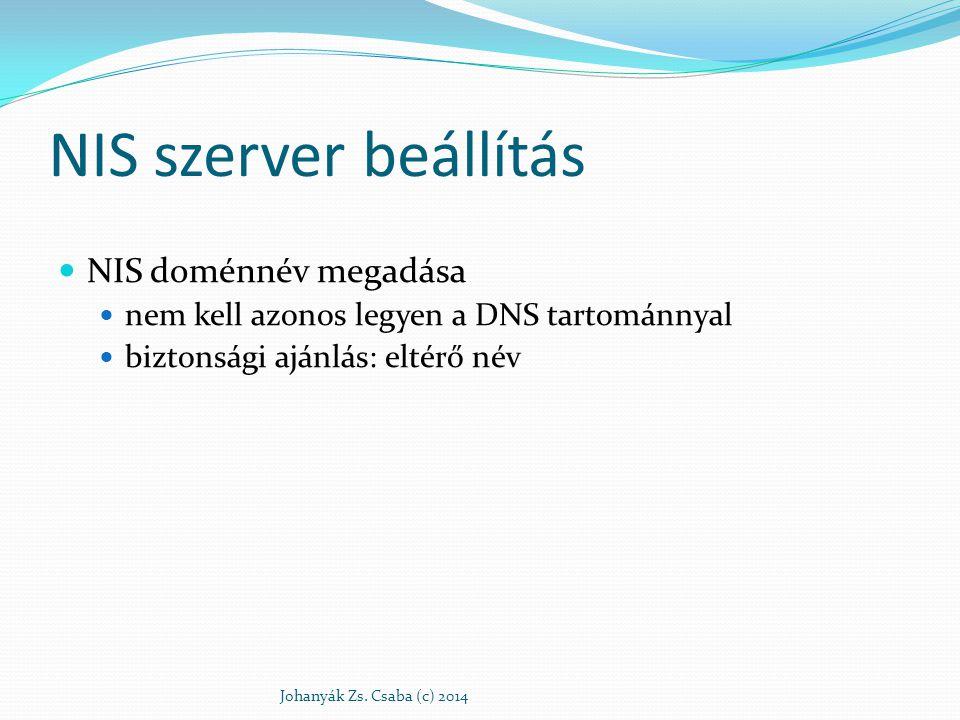 NIS szerver beállítás NIS doménnév megadása