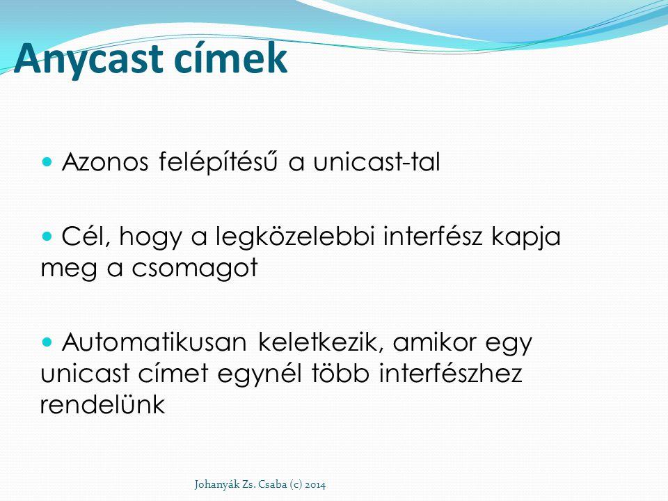 Anycast címek Azonos felépítésű a unicast-tal