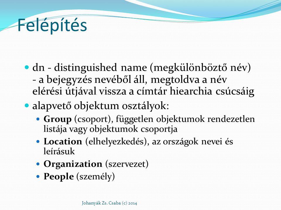 Felépítés dn - distinguished name (megkülönböztő név) - a bejegyzés nevéből áll, megtoldva a név elérési útjával vissza a címtár hiearchia csúcsáig.