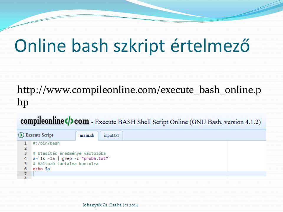 Online bash szkript értelmező