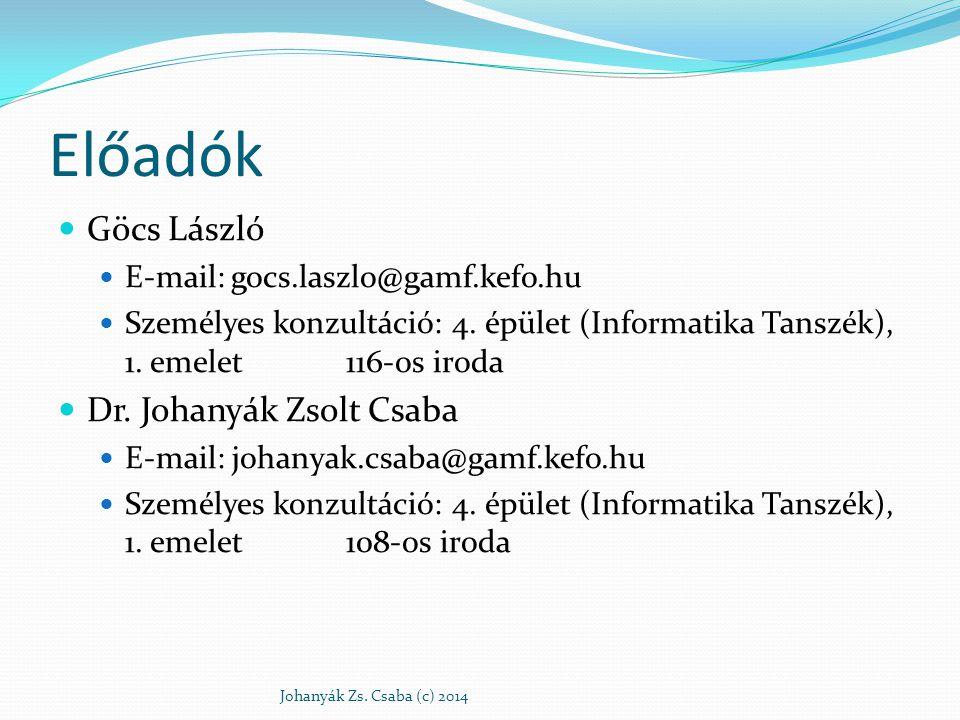 Előadók Göcs László Dr. Johanyák Zsolt Csaba