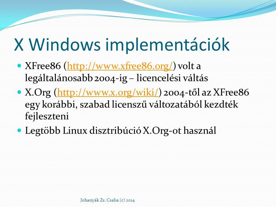 X Windows implementációk