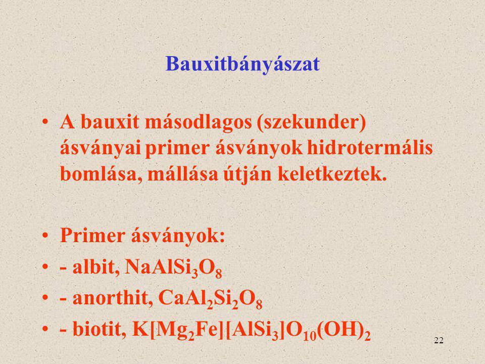 Bauxitbányászat A bauxit másodlagos (szekunder) ásványai primer ásványok hidrotermális bomlása, mállása útján keletkeztek.