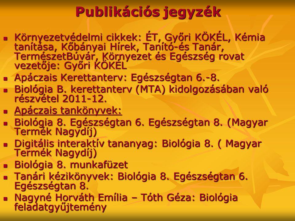 Publikációs jegyzék