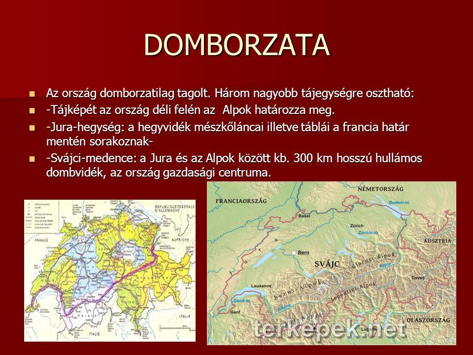 DOMBORZATA Az ország domborzatilag tagolt. Három nagyobb tájegységre osztható: -Tájképét az ország déli felén az Alpok határozza meg.