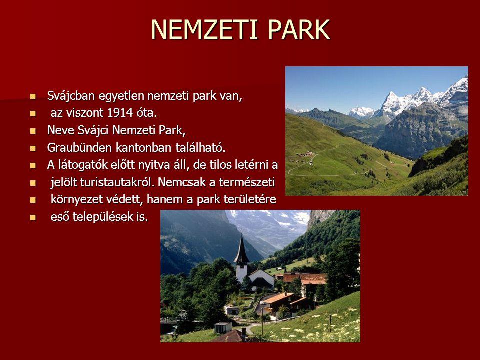 NEMZETI PARK Svájcban egyetlen nemzeti park van, az viszont 1914 óta.