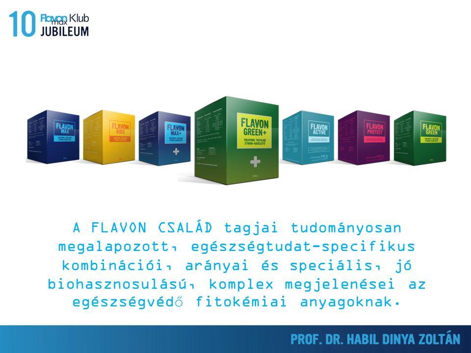 A FLAVON CSALÁD tagjai tudományosan megalapozott, egészségtudat-specifikus kombinációi, arányai és speciális, jó biohasznosulású, komplex megjelenései az egészségvédő fitokémiai anyagoknak.