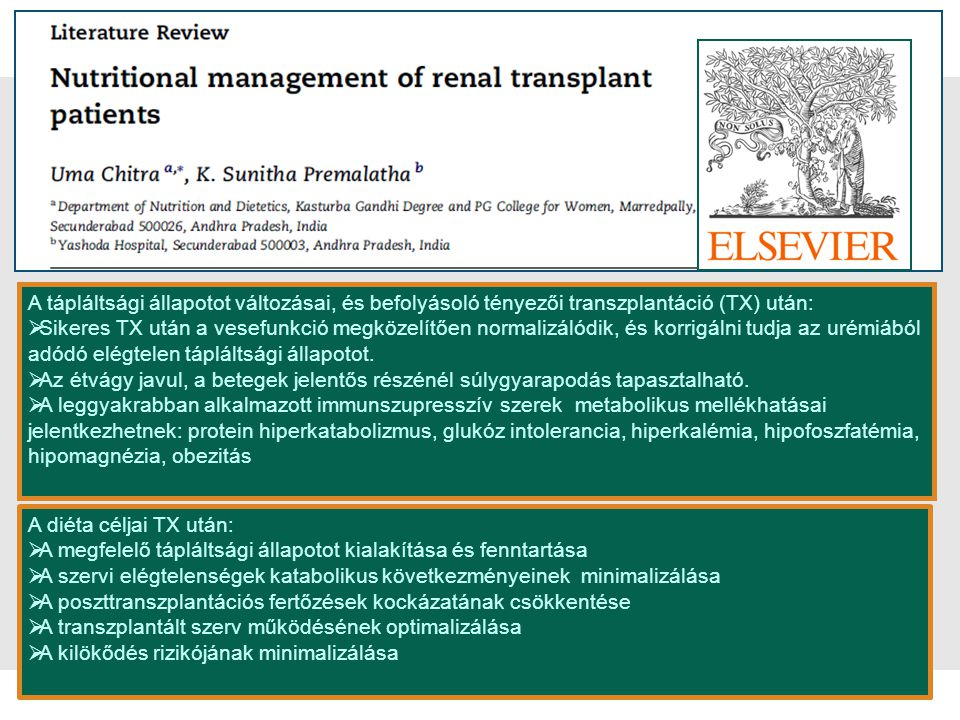 A tápláltsági állapotot változásai, és befolyásoló tényezői transzplantáció (TX) után:
