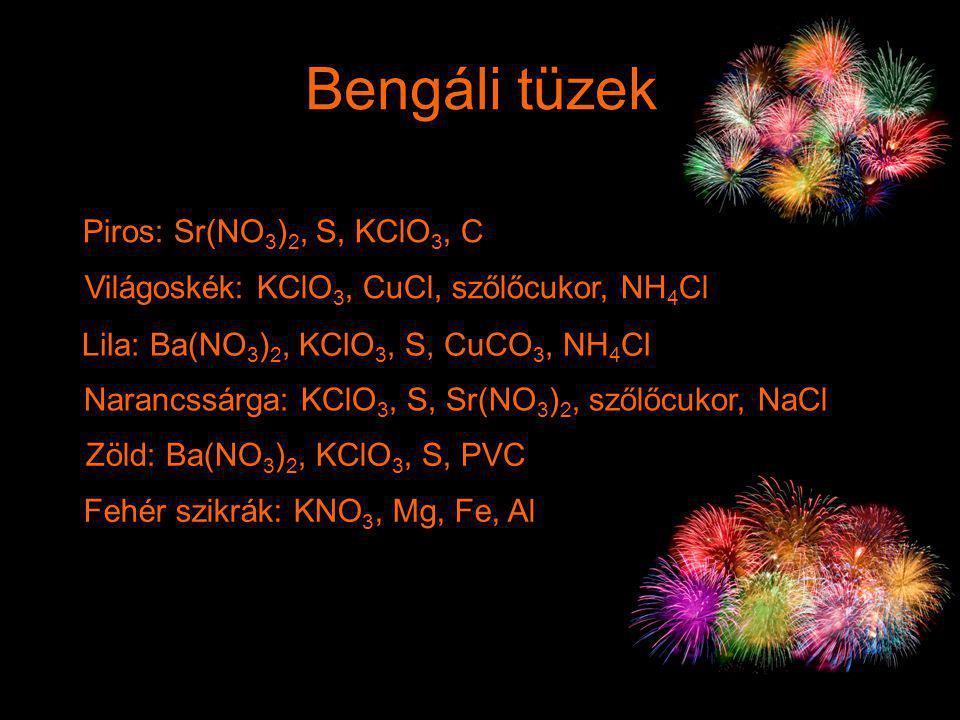 Bengáli tüzek Piros: Sr(NO3)2, S, KClO3, C