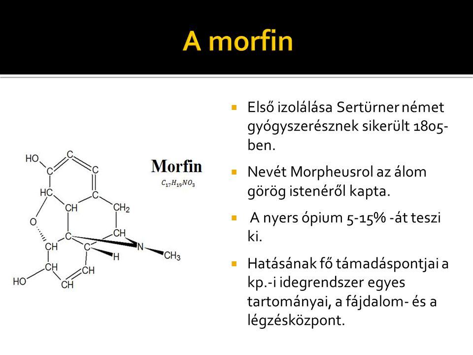 A morfin Első izolálása Sertürner német gyógyszerésznek sikerült 1805- ben. Nevét Morpheusrol az álom görög istenéről kapta.
