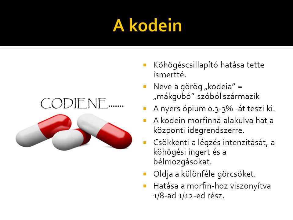 A kodein Köhögéscsillapító hatása tette ismertté.