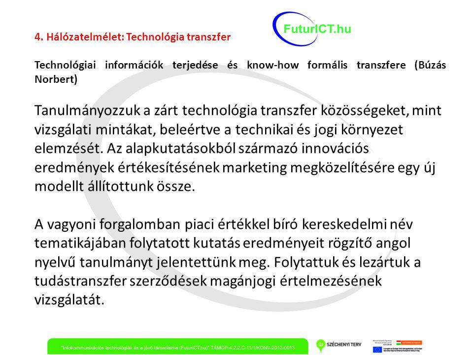 4. Hálózatelmélet: Technológia transzfer