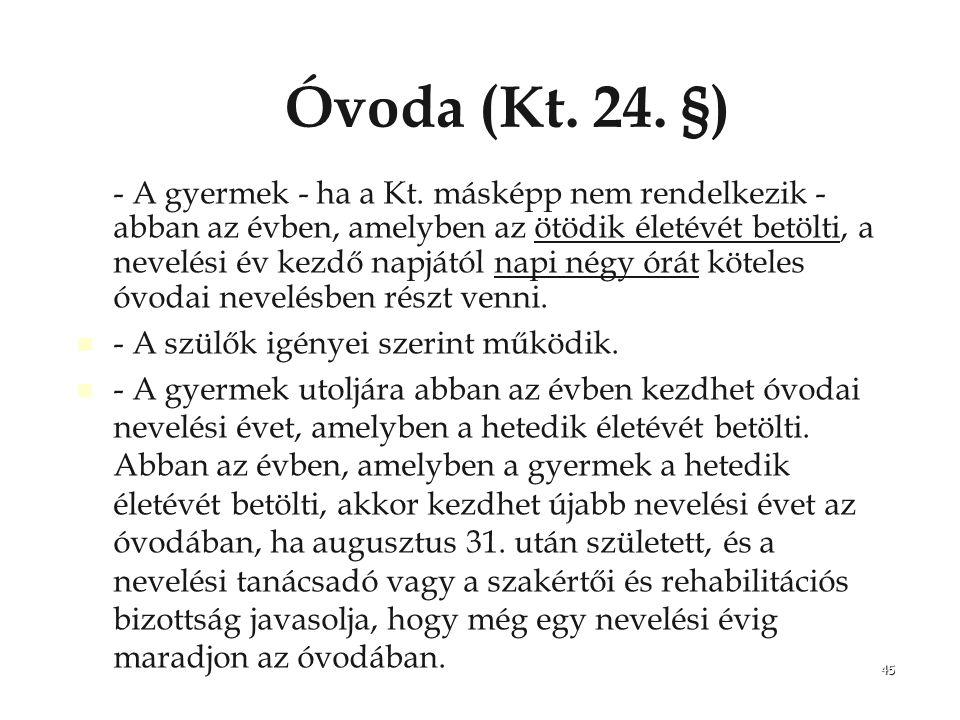 Óvoda (Kt. 24. §)