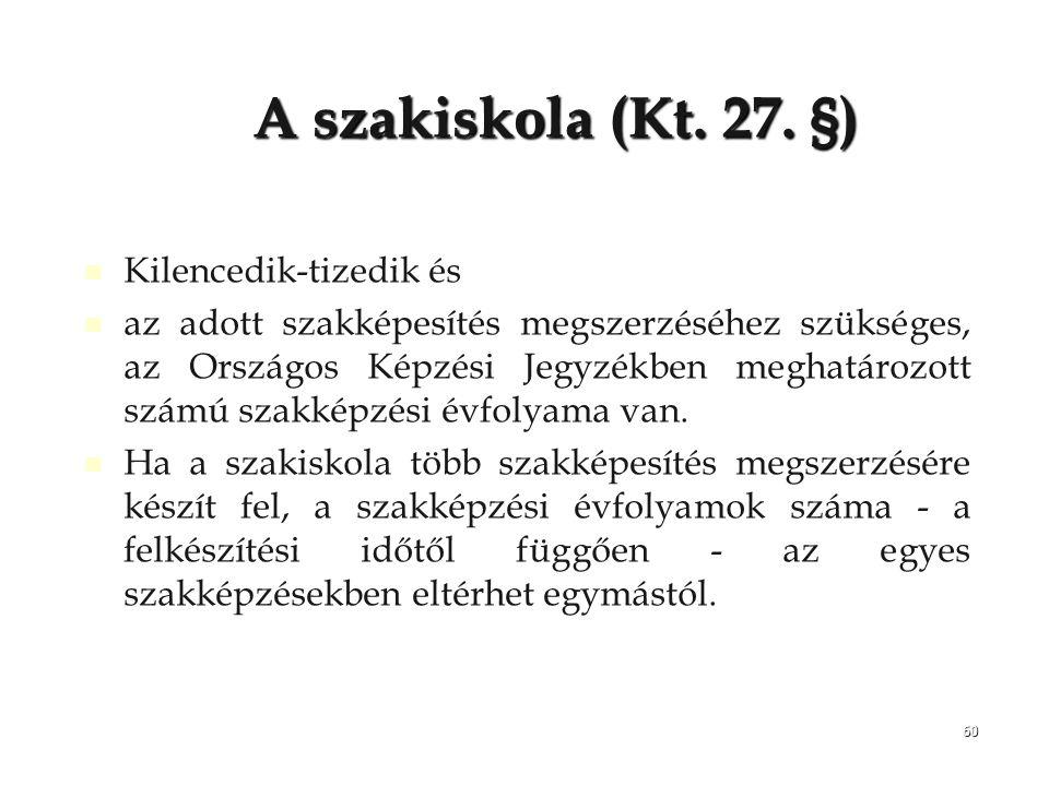 A szakiskola (Kt. 27. §) Kilencedik-tizedik és