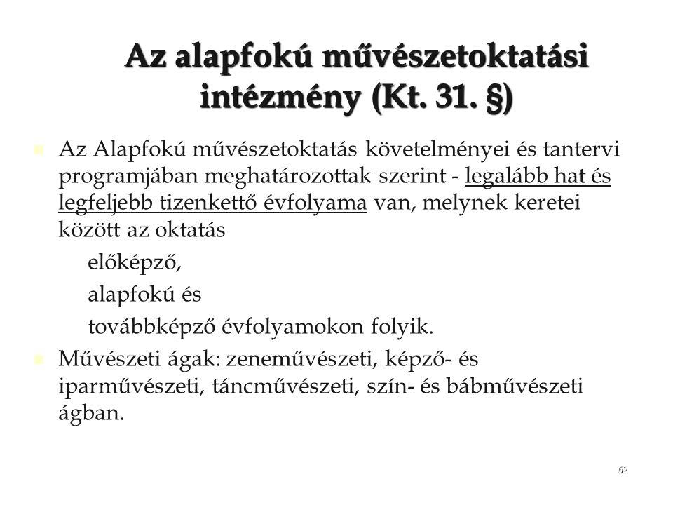Az alapfokú művészetoktatási intézmény (Kt. 31. §)