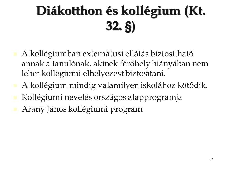 Diákotthon és kollégium (Kt. 32. §)