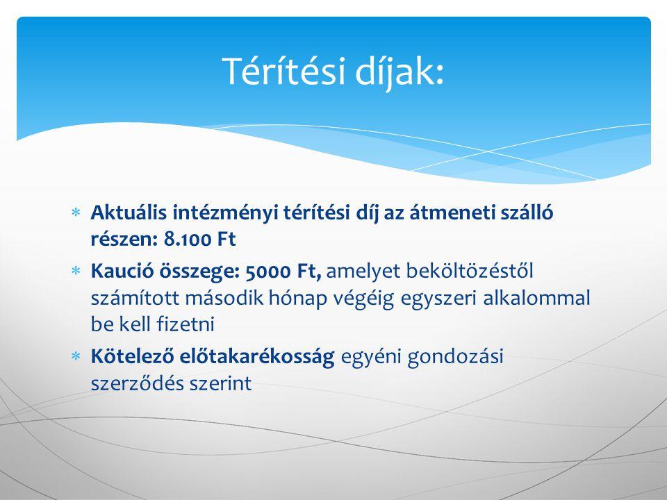 Térítési díjak: Aktuális intézményi térítési díj az átmeneti szálló részen: 8.100 Ft.