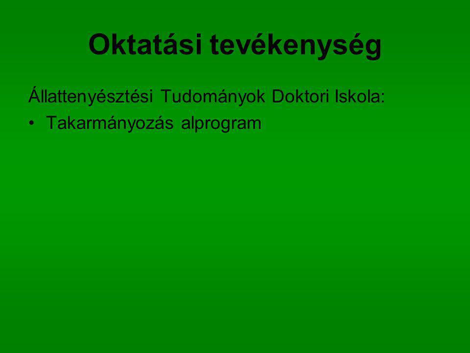 Oktatási tevékenység Állattenyésztési Tudományok Doktori Iskola: