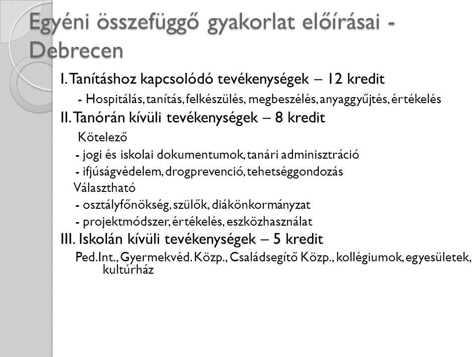 Egyéni összefüggő gyakorlat előírásai - Debrecen
