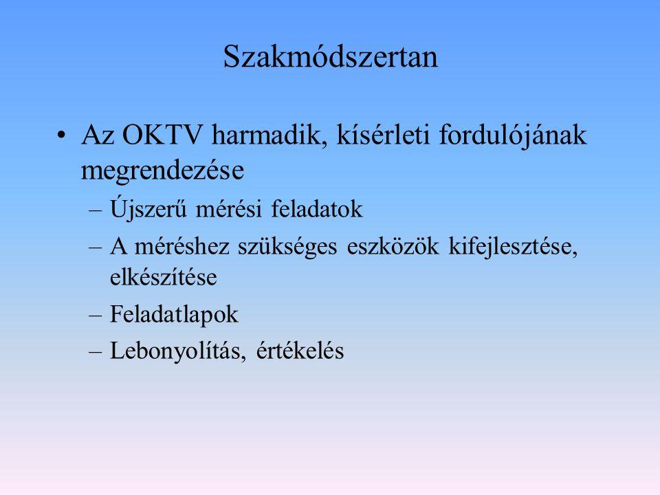 Szakmódszertan Az OKTV harmadik, kísérleti fordulójának megrendezése