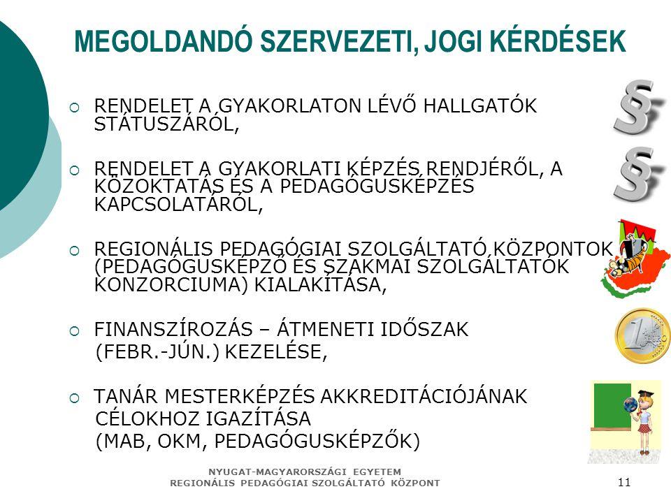 MEGOLDANDÓ SZERVEZETI, JOGI KÉRDÉSEK