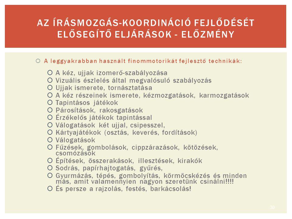 AZ ÍRÁSMOZGÁS-KOORDINÁCIÓ FEJLŐDÉSÉT ELŐSEGÍTŐ ELJÁRÁSOK - ELŐZMÉNY