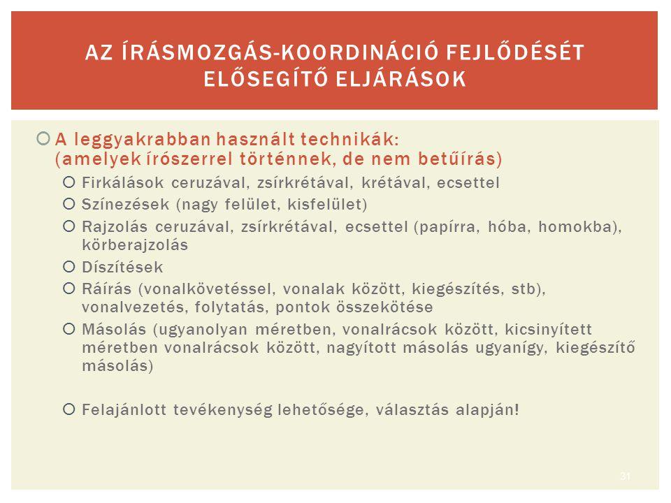 AZ ÍRÁSMOZGÁS-KOORDINÁCIÓ FEJLŐDÉSÉT ELŐSEGÍTŐ ELJÁRÁSOK