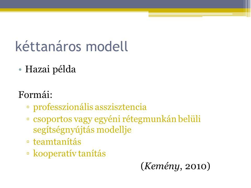 kéttanáros modell Hazai példa Formái: (Kemény, 2010)