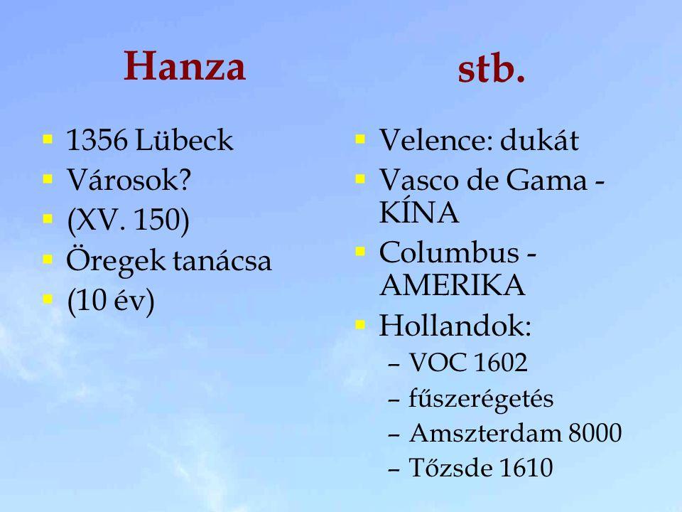 Hanza stb. 1356 Lübeck Városok (XV. 150) Öregek tanácsa (10 év)