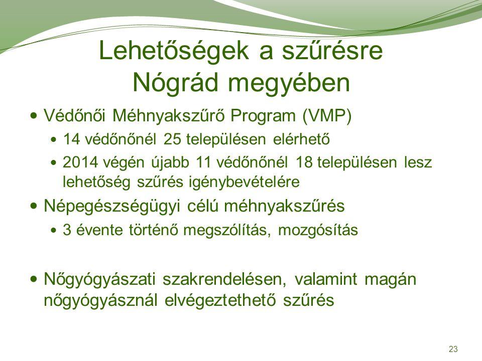 Lehetőségek a szűrésre Nógrád megyében
