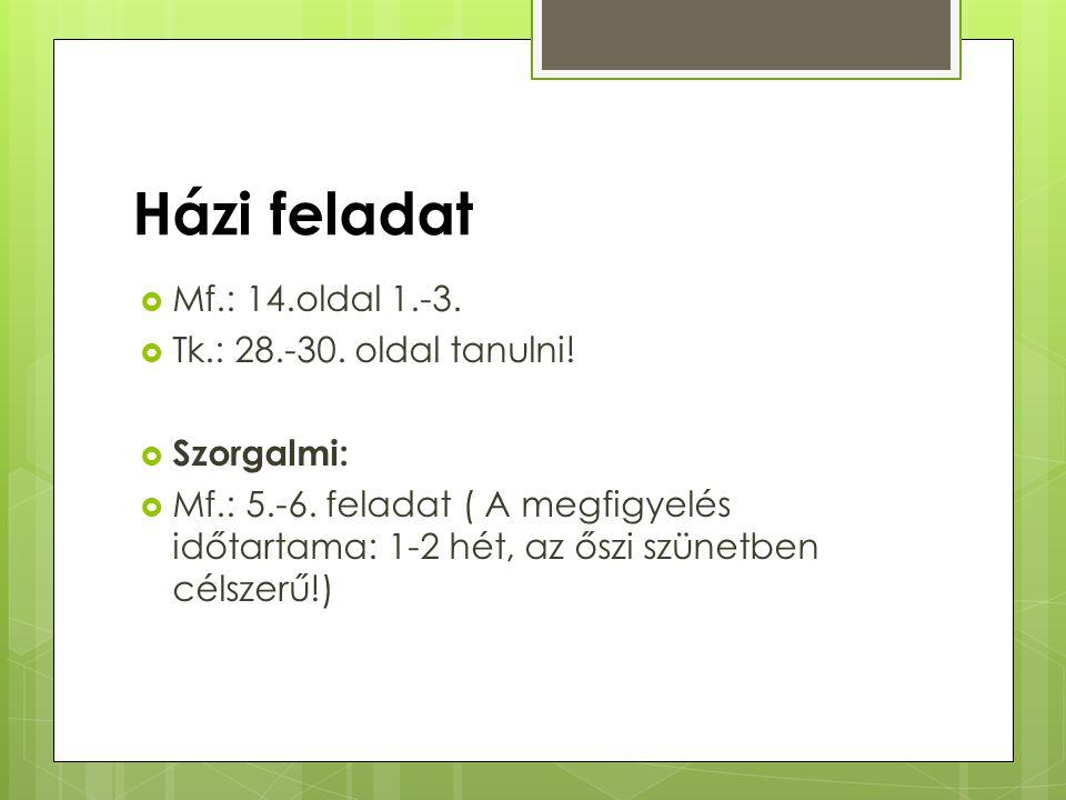 Házi feladat Mf.: 14.oldal 1.-3. Tk.: 28.-30. oldal tanulni!