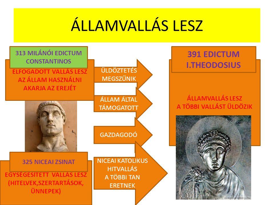 ÁLLAMVALLÁS LESZ 391 EDICTUM I.THEODOSIUS 313 MILÁNÓI EDICTUM