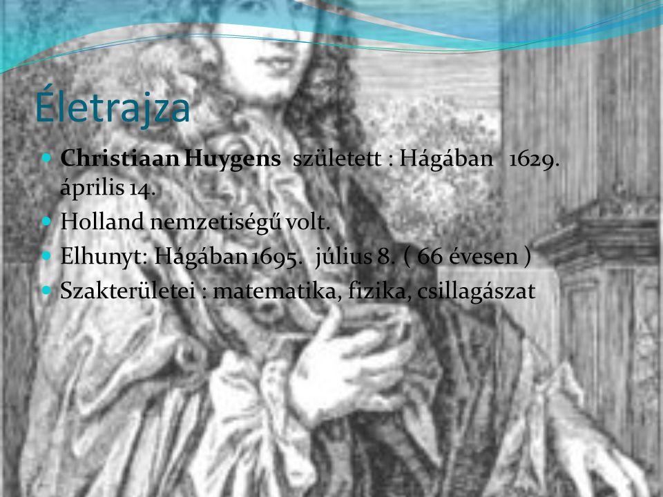 Életrajza Christiaan Huygens született : Hágában 1629. április 14.