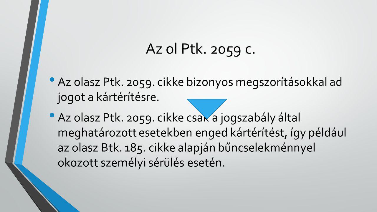 Az ol Ptk. 2059 c. Az olasz Ptk. 2059. cikke bizonyos megszorításokkal ad jogot a kártérítésre.