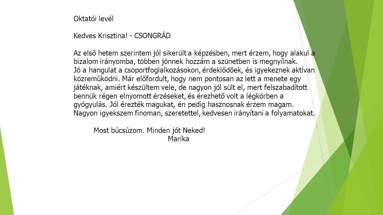 Oktatói levél Kedves Krisztina! - CSONGRÁD.