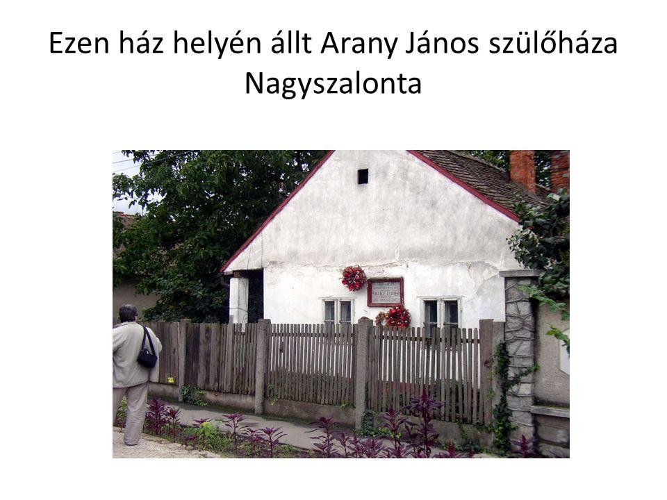 Ezen ház helyén állt Arany János szülőháza Nagyszalonta