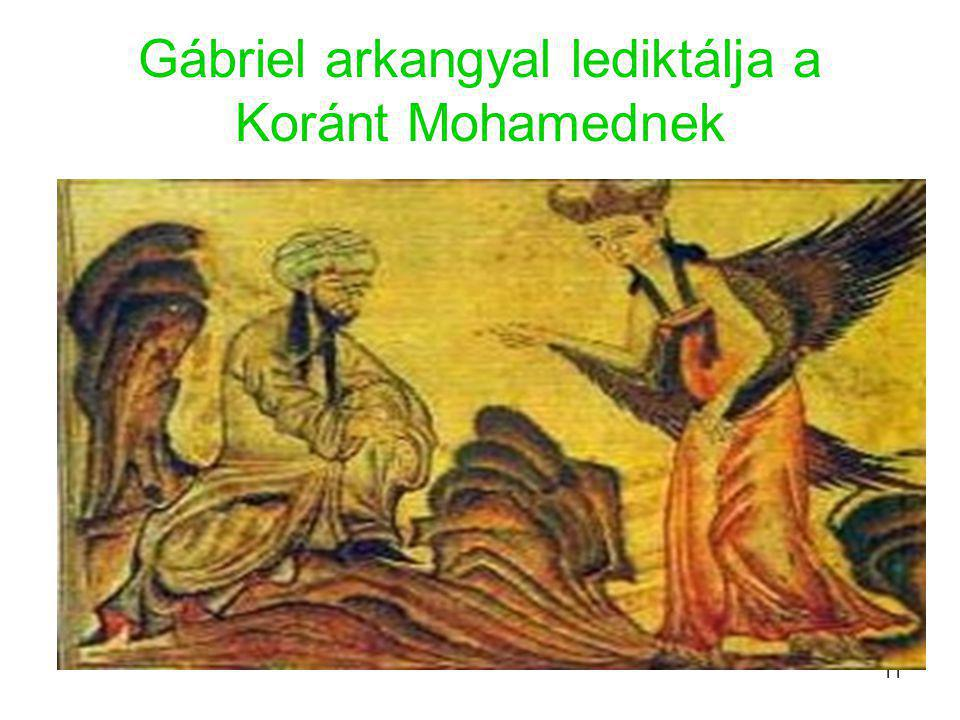 Gábriel arkangyal lediktálja a Koránt Mohamednek