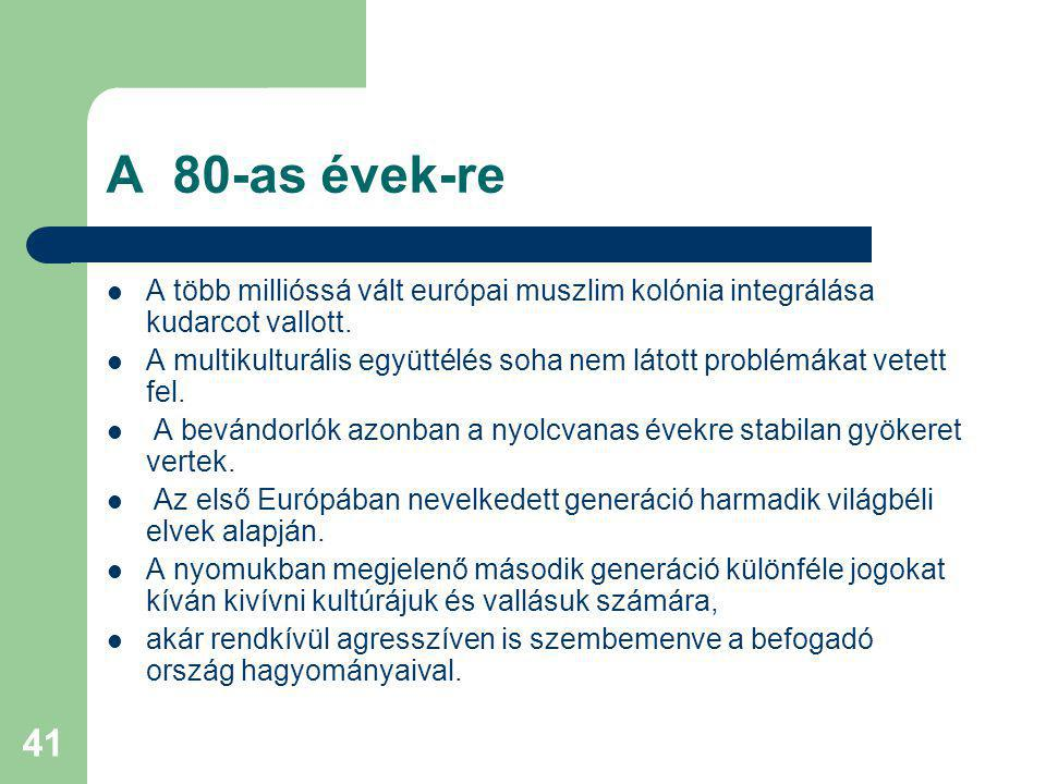 A 80-as évek-re A több millióssá vált európai muszlim kolónia integrálása kudarcot vallott.