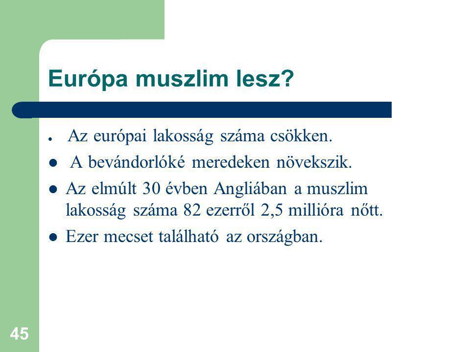 Európa muszlim lesz A bevándorlóké meredeken növekszik.