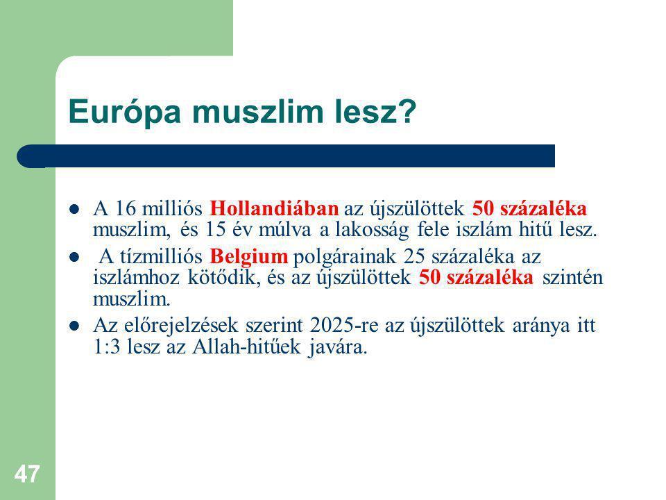 Európa muszlim lesz A 16 milliós Hollandiában az újszülöttek 50 százaléka muszlim, és 15 év múlva a lakosság fele iszlám hitű lesz.