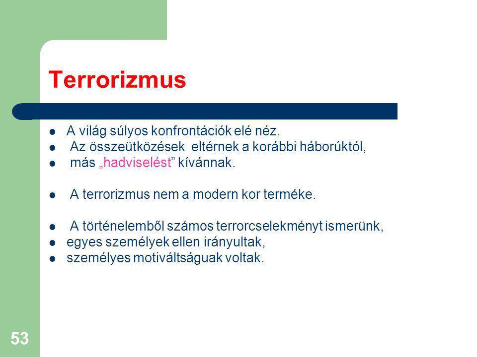 Terrorizmus A világ súlyos konfrontációk elé néz.