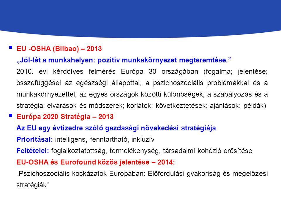 """EU -OSHA (Bilbao) – 2013 """"Jól-lét a munkahelyen: pozitív munkakörnyezet megteremtése."""