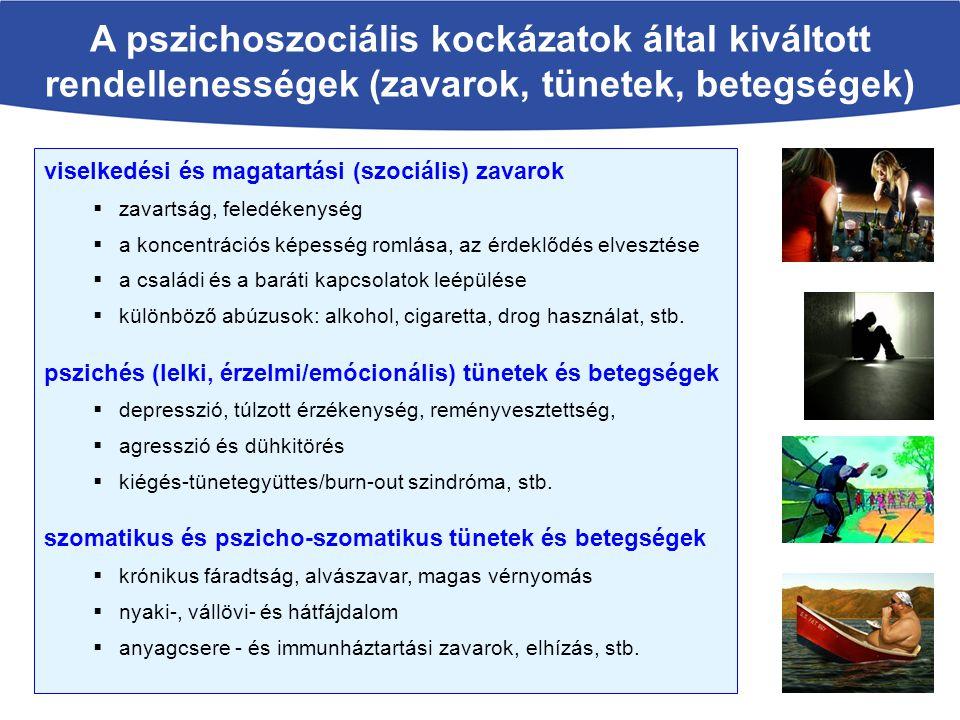 A pszichoszociális kockázatok által kiváltott rendellenességek (zavarok, tünetek, betegségek)
