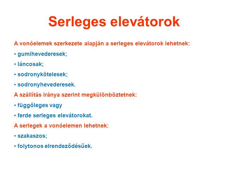 Serleges elevátorok A vonóelemek szerkezete alapján a serleges elevátorok lehetnek: gumihevederesek;