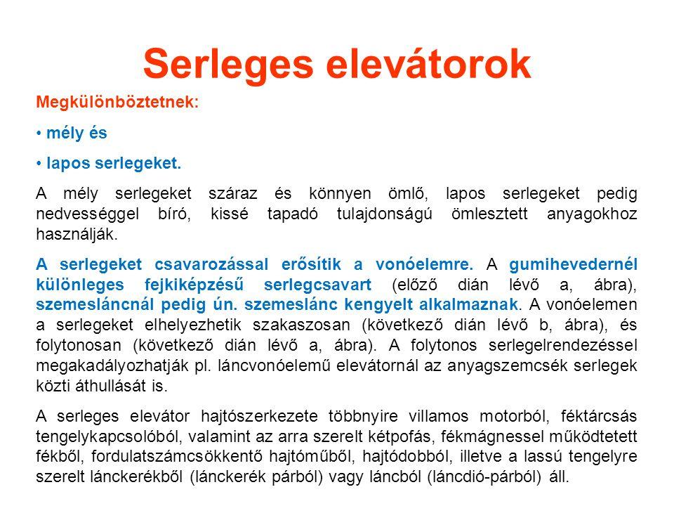 Serleges elevátorok Megkülönböztetnek: mély és lapos serlegeket.