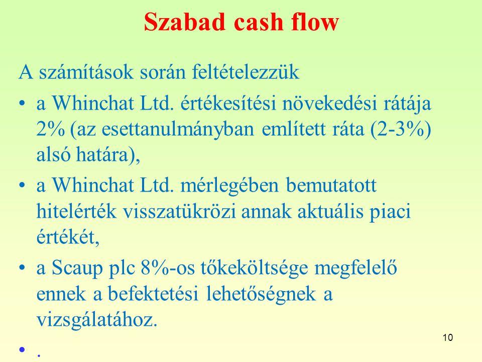 Szabad cash flow A számítások során feltételezzük
